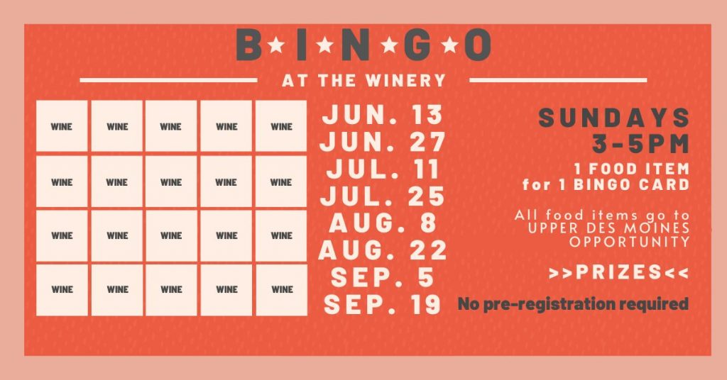 BINGO at the winery every other Sunday 3 to 5pm
